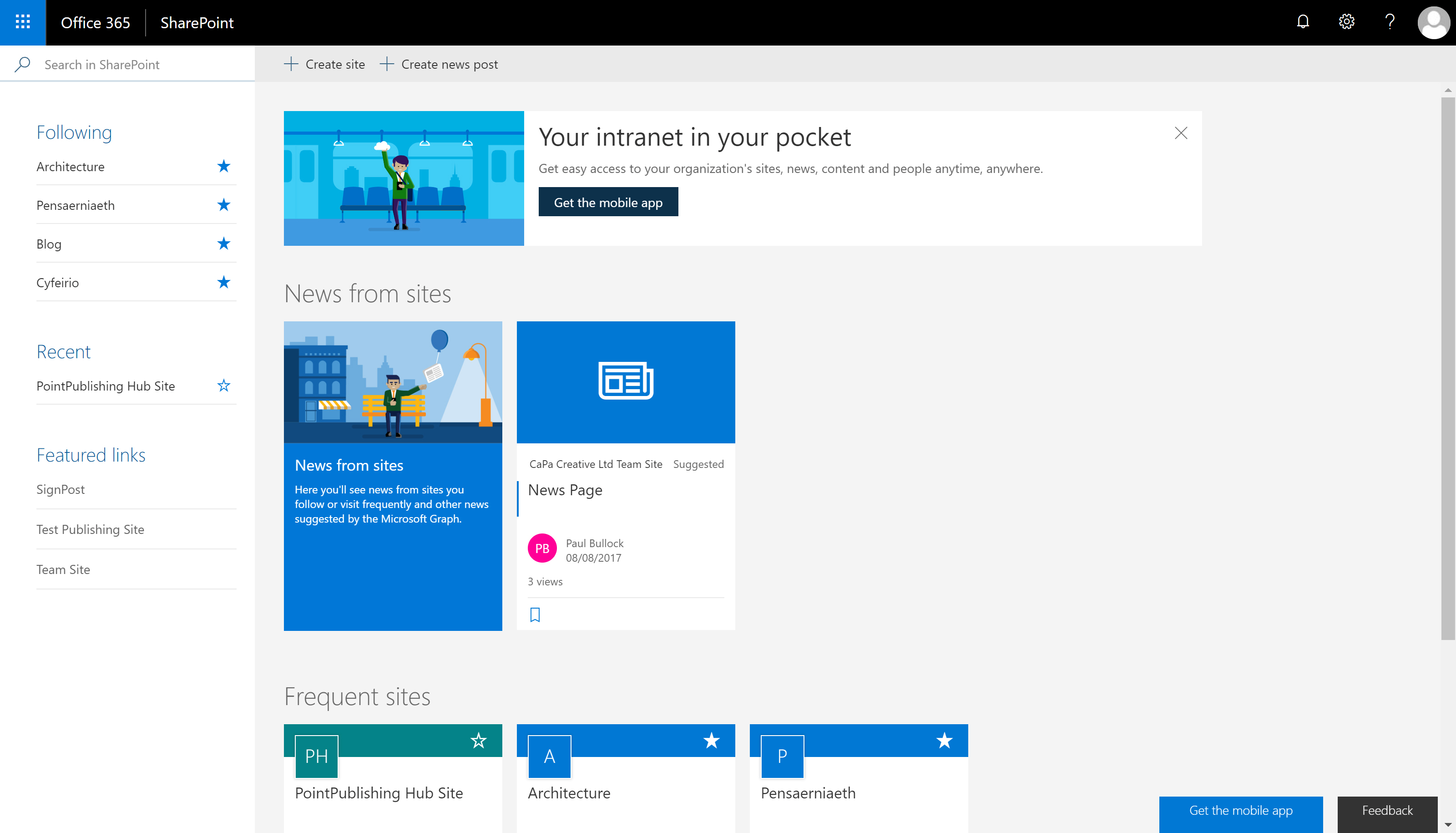 An example SharePoint Start Page