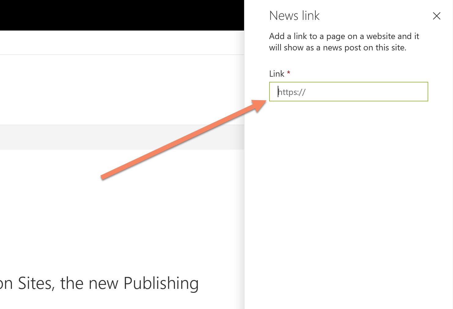 Screenshot of the Add News Link URL