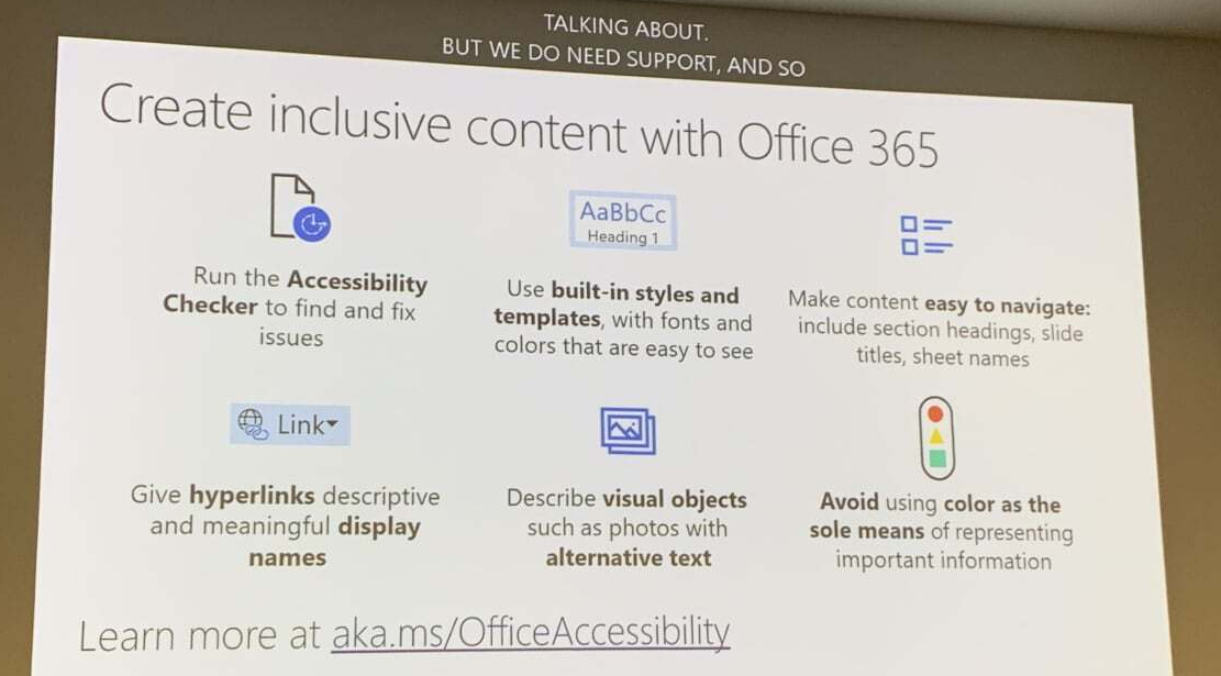 Image showing how to create inclusive content. Including using: built-in-styles and templates, easy navigation, avoiding colour as sole means of representing important information
