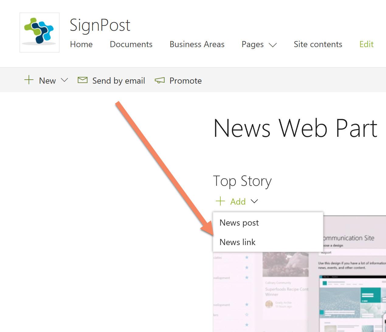 Screenshot of the webpart add news link button