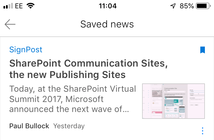 Screenshot of the iOS app for saved news