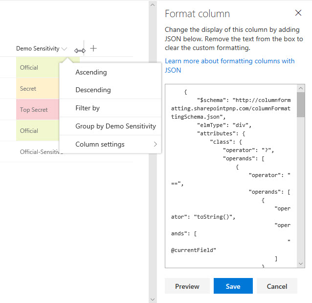 Formatting UI preview tools - built into SharePoint