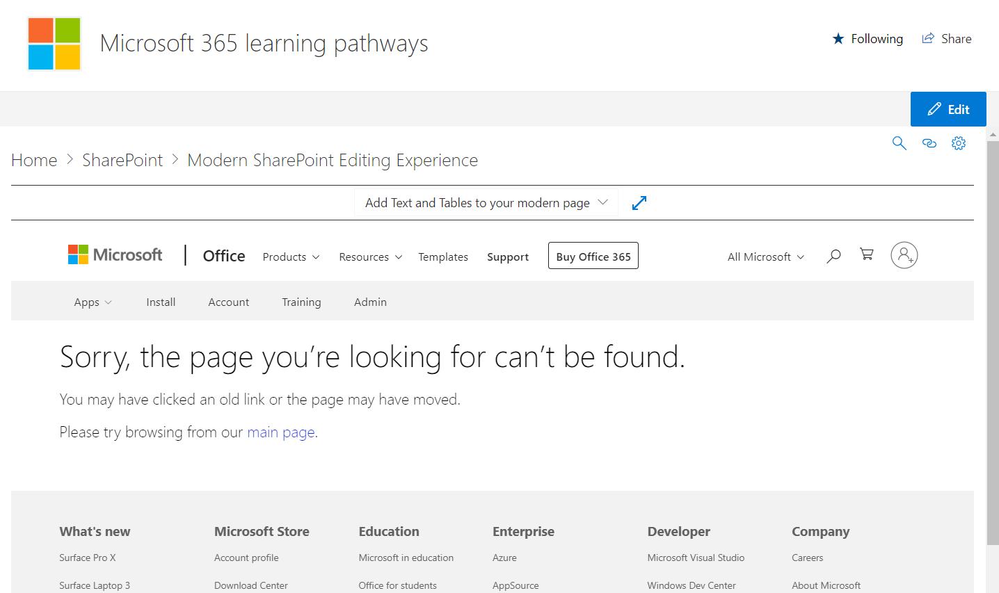 Screenshot using the support article URLs