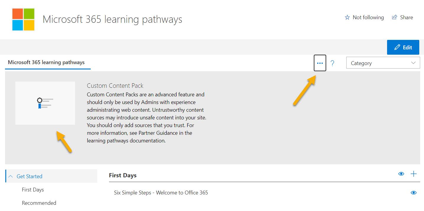 Screenshot of adding custom content pack