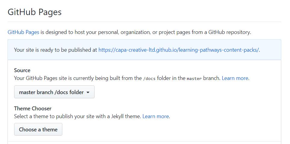 Screenshot of GitHub Repository Settings block.