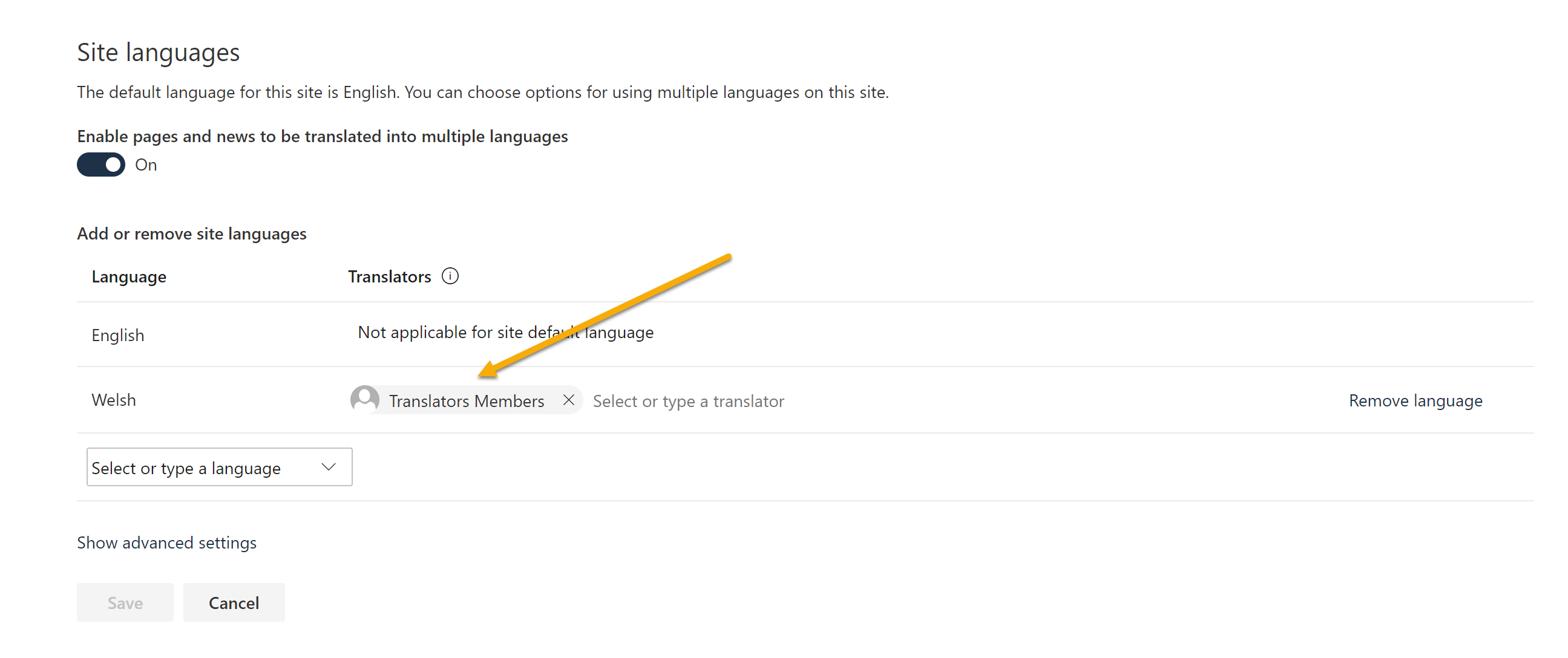 Screenshot of setting a translation group to send notifications to