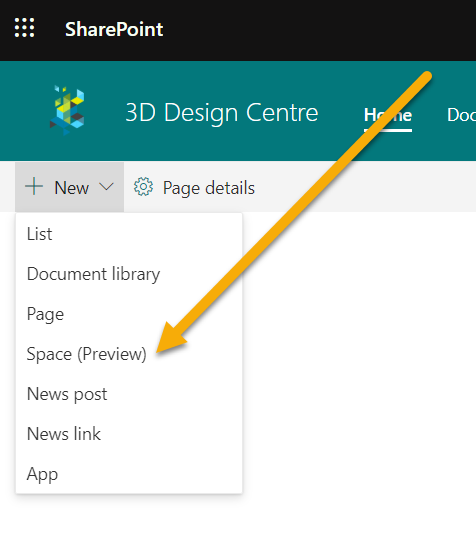 Screenshot of the of the new option to create a SharePoint spaces page