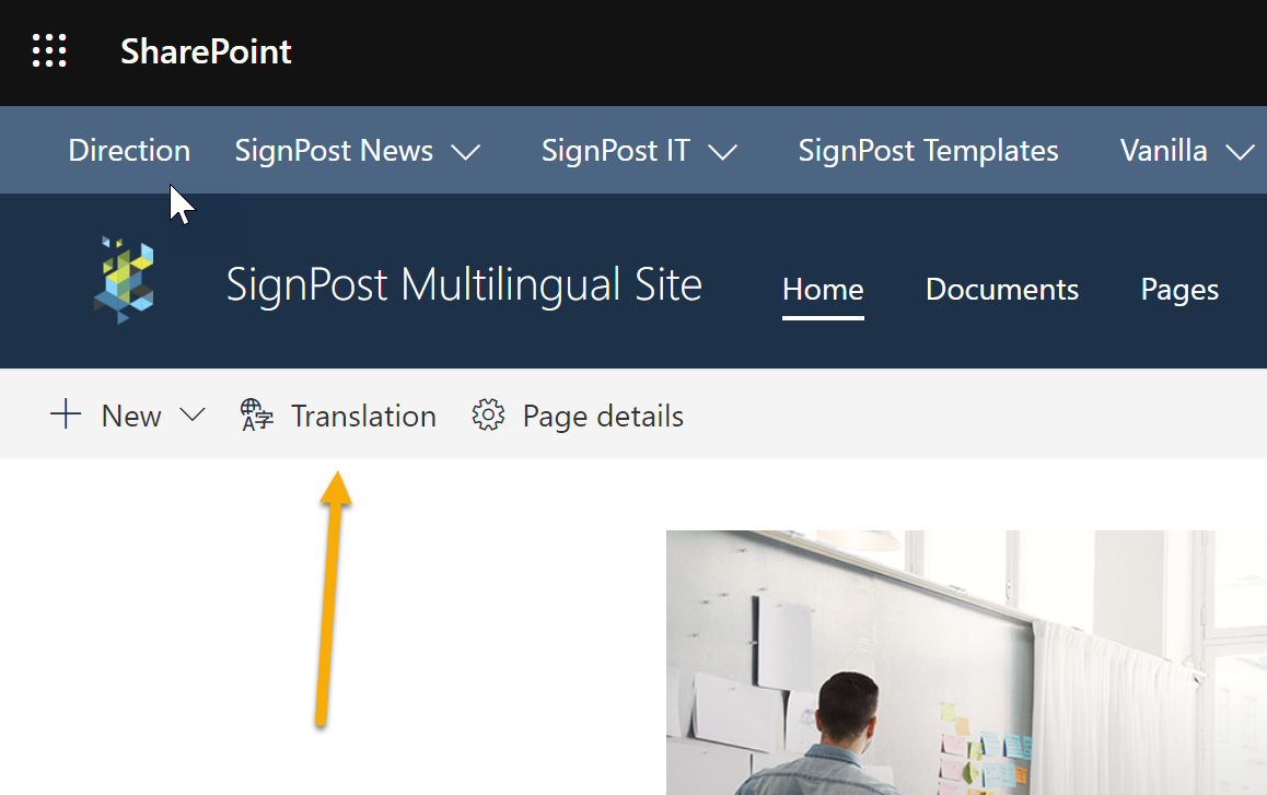 Screenshot of when multi-lingual features are enabled, new options appear on the modern editing bar
