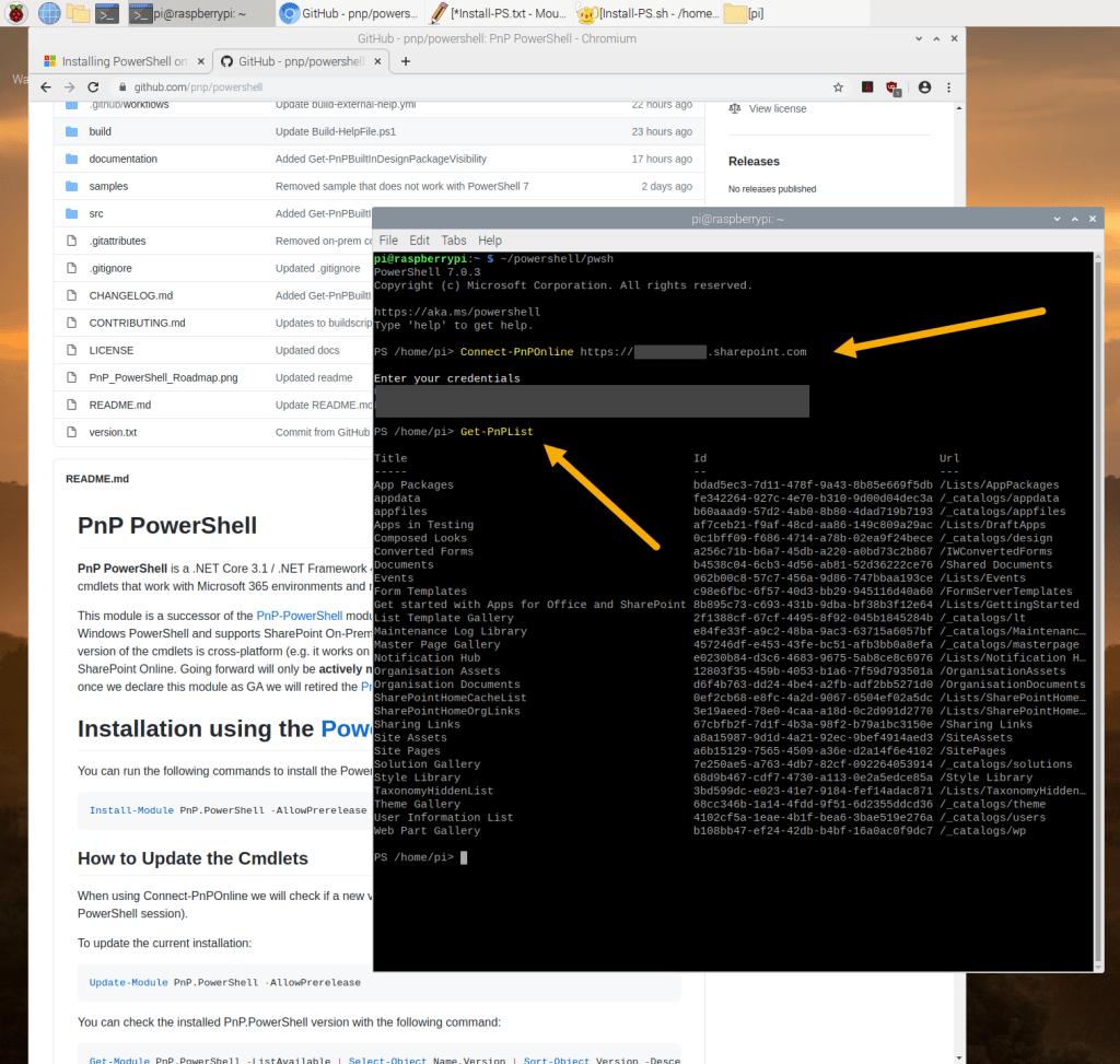 Screenshot from Raspberry Pi running PnP PowerShell commands.