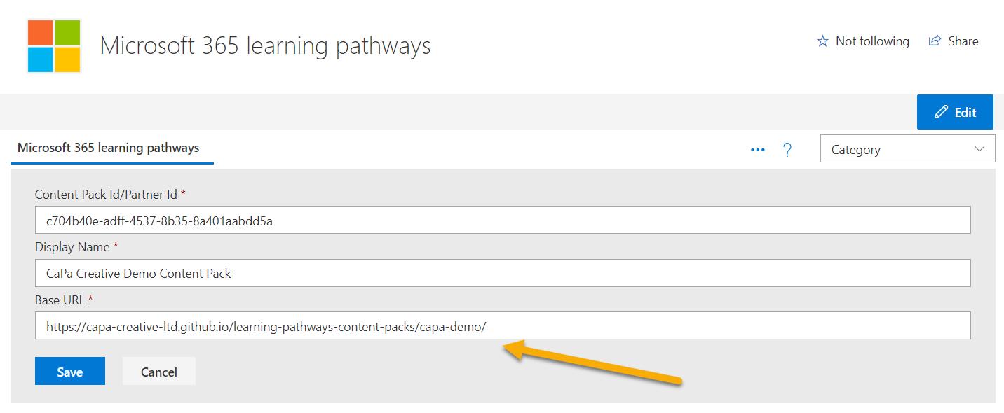 Screenshot adding demo content pack