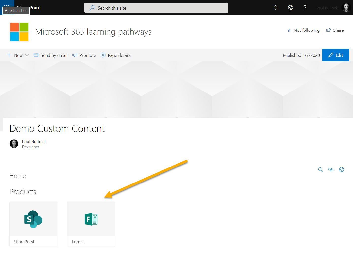 Screenshot showing your content pack