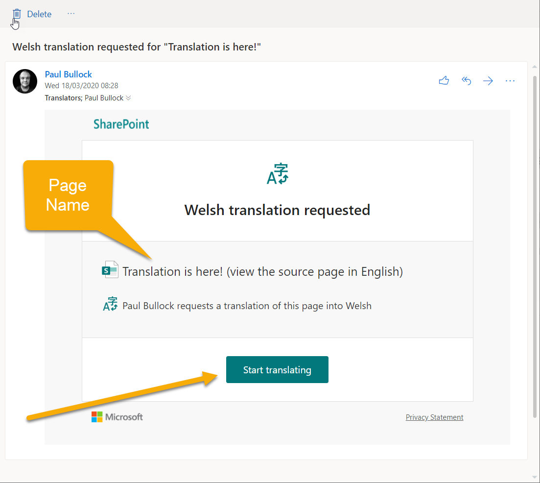 Screenshot of the notification email this is received when the translation groups gets a notification