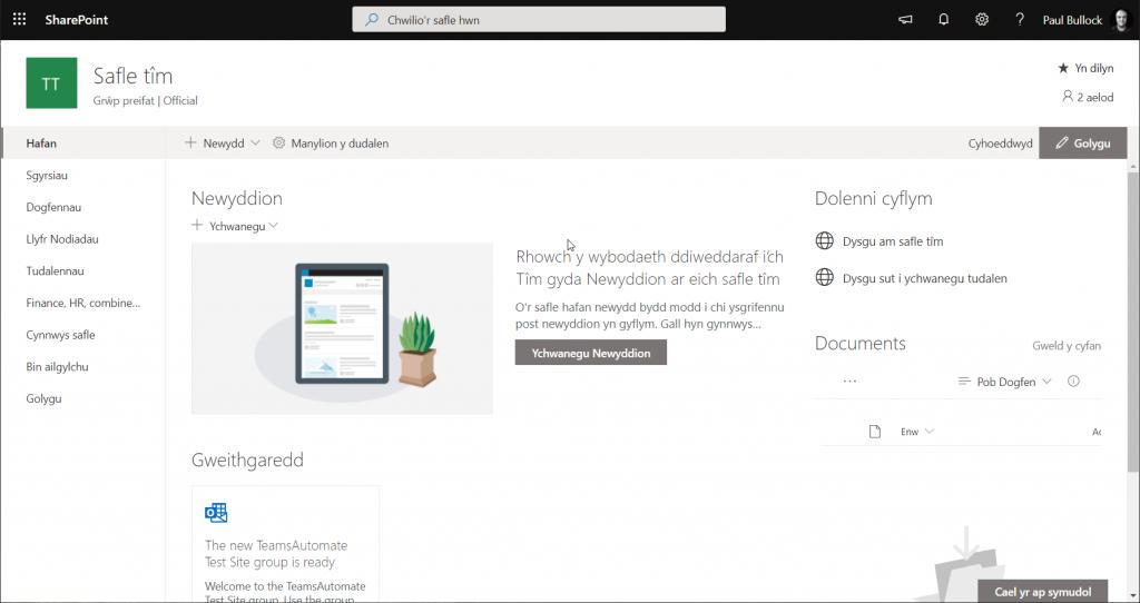 Screenshot of an Welsh modern SharePoint site