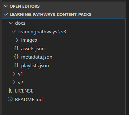 Content Pack initial setup structure