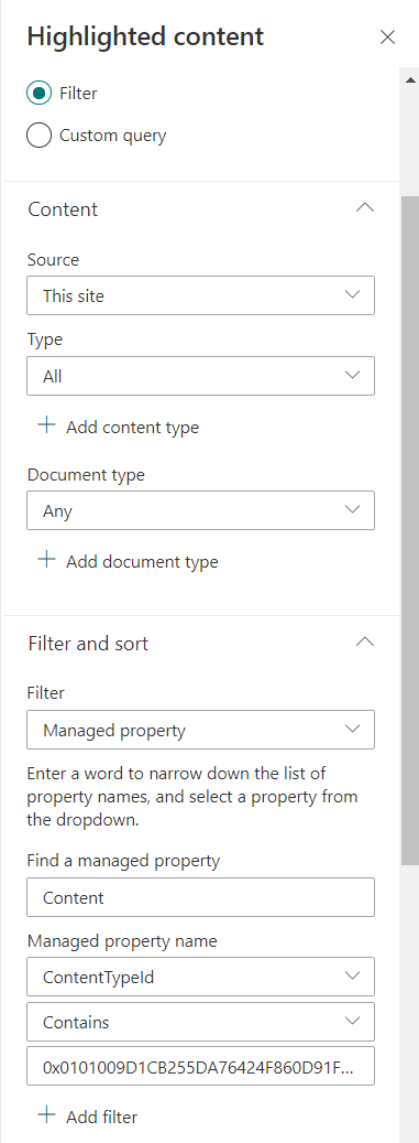 Screenshot of the settings to filter Spaces