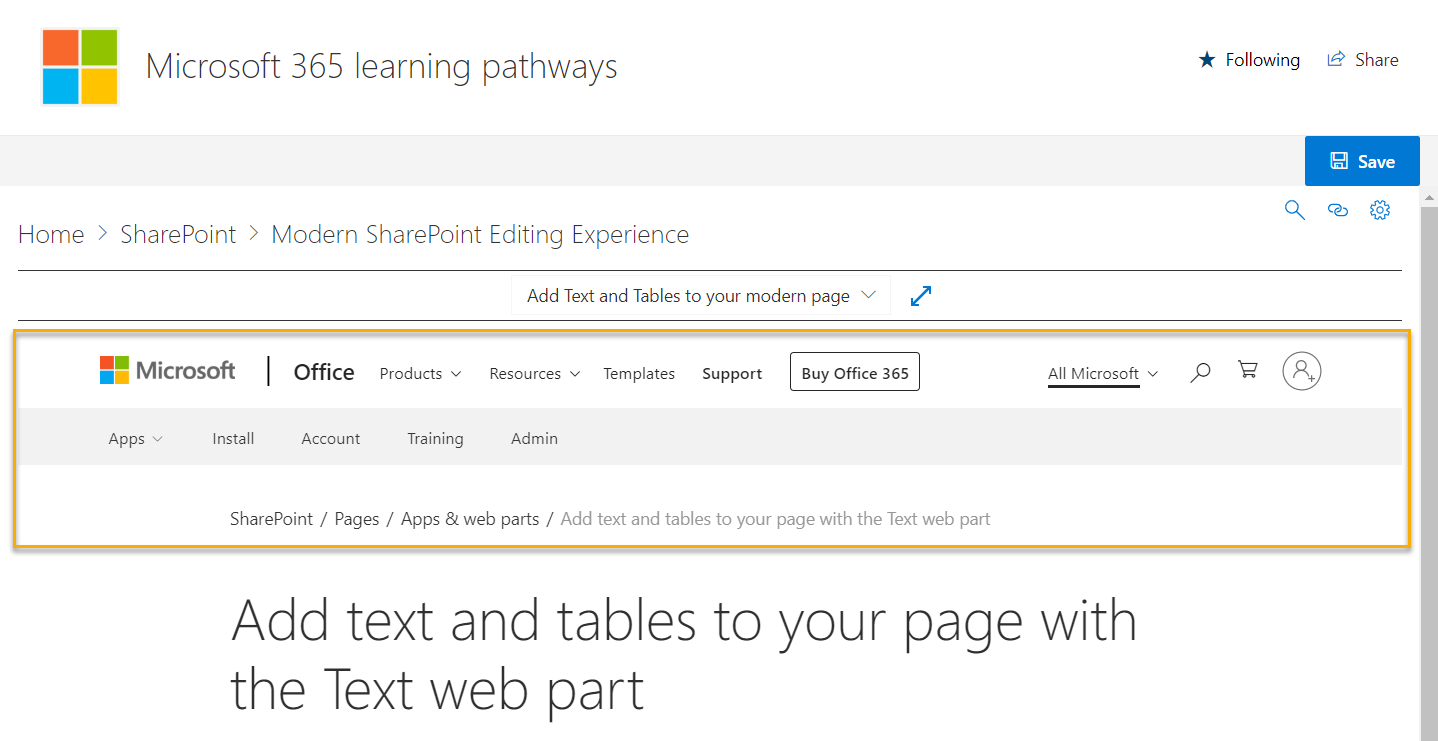 Support page showing in frame with page chrome